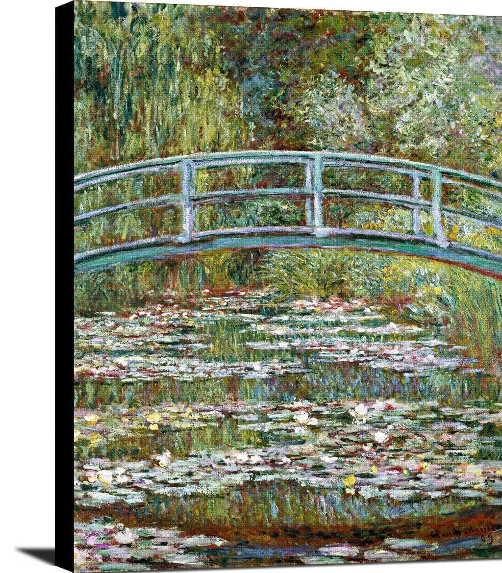 Bridge Over A Pond Of Water Lilies Painting Claude Monet Canvas Art