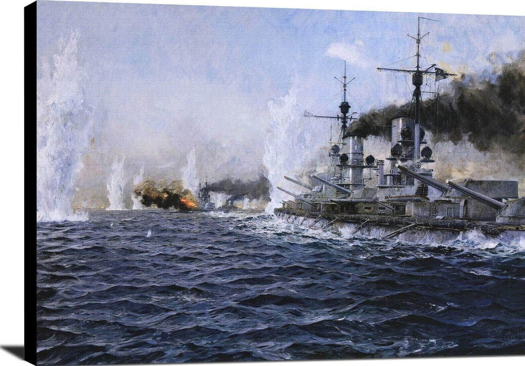 British Fleet Fired Upon At The Battle Of Jutland Painting Bergen Canvas Art