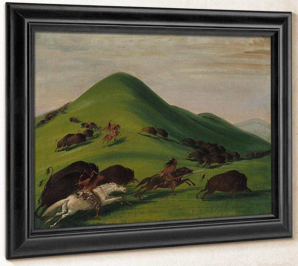 Buffalo Chase Over Prairie Bluffs By George Catlin