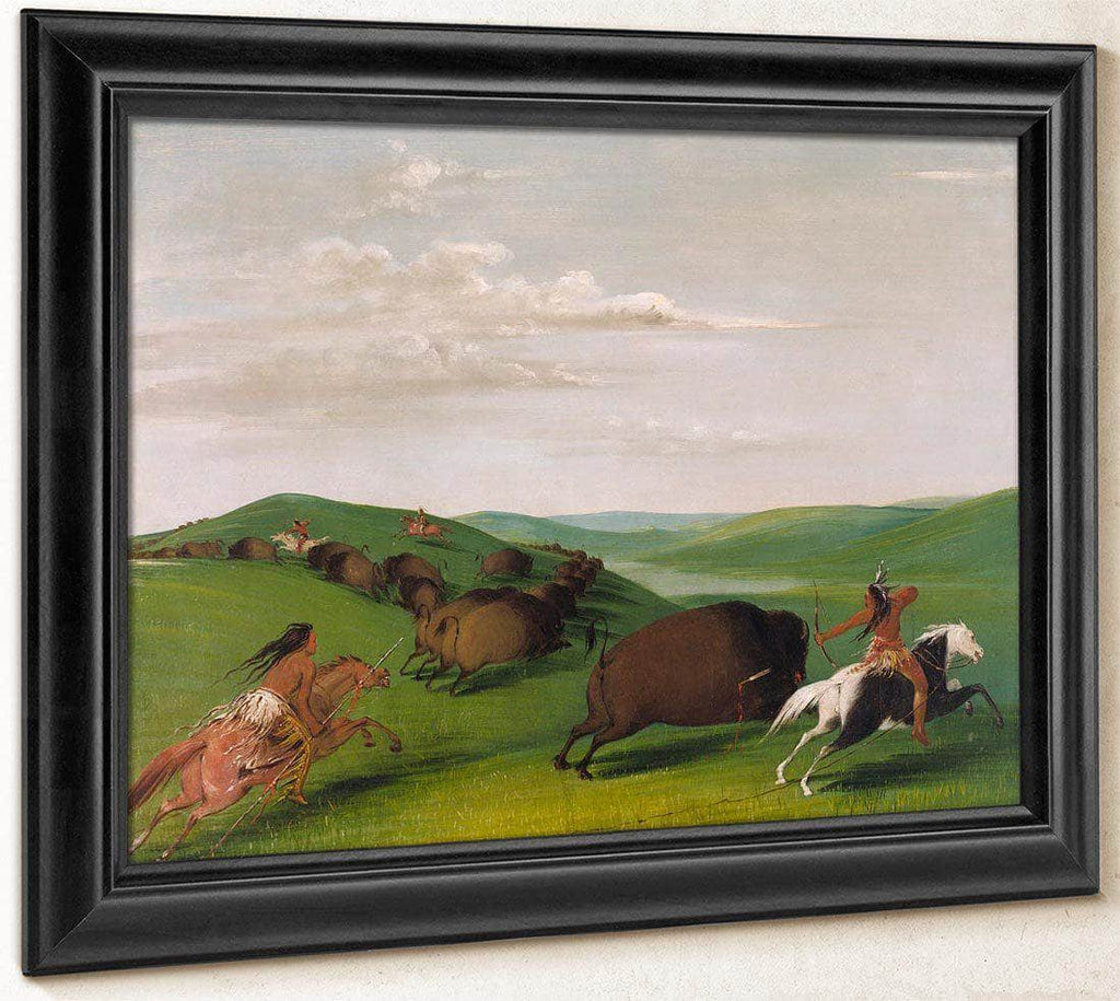 Buffalo Chase With Bows And Lances By George Catlin