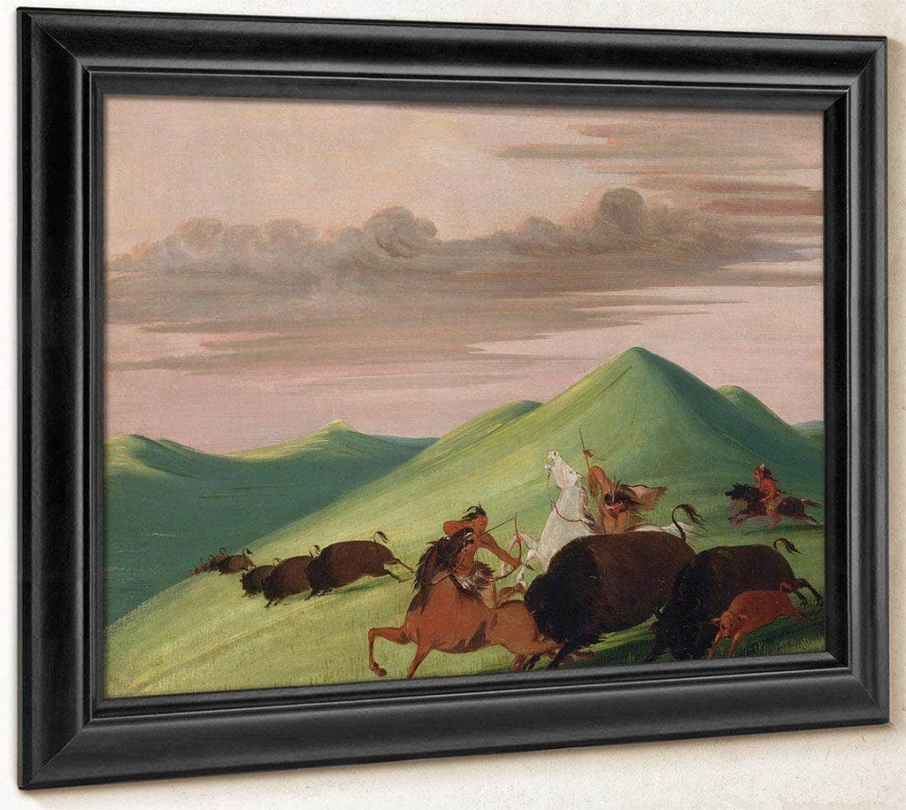 Buffalo Chase, Bull Protecting A Cow And Calf By George Catlin