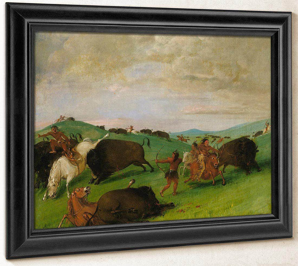 Buffalo Chase, Bulls Making Battle With Men And Horses By George Catlin
