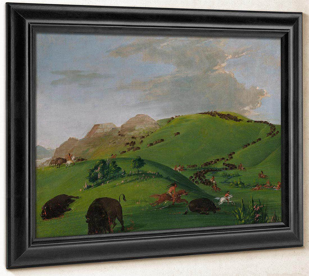 Buffalo Chase, Mouth Of The Yellowstone By George Catlin