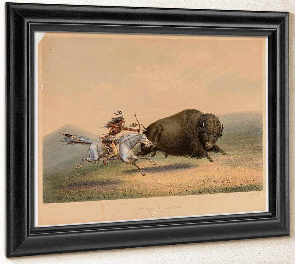 Buffalo Hunt, Chase  No. 6 By George Catlin