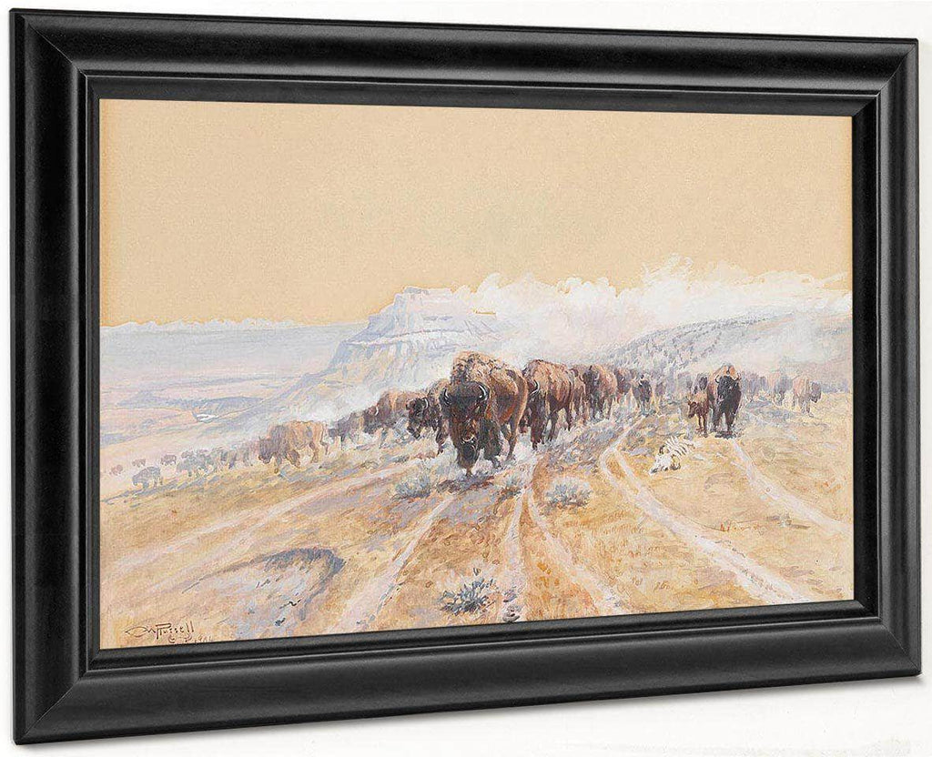 Buffalo On The Move By Charles Marion Russell