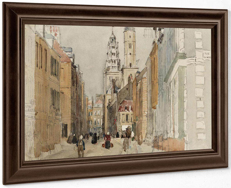 Calais Street Scene With Lighthouse By David Cox