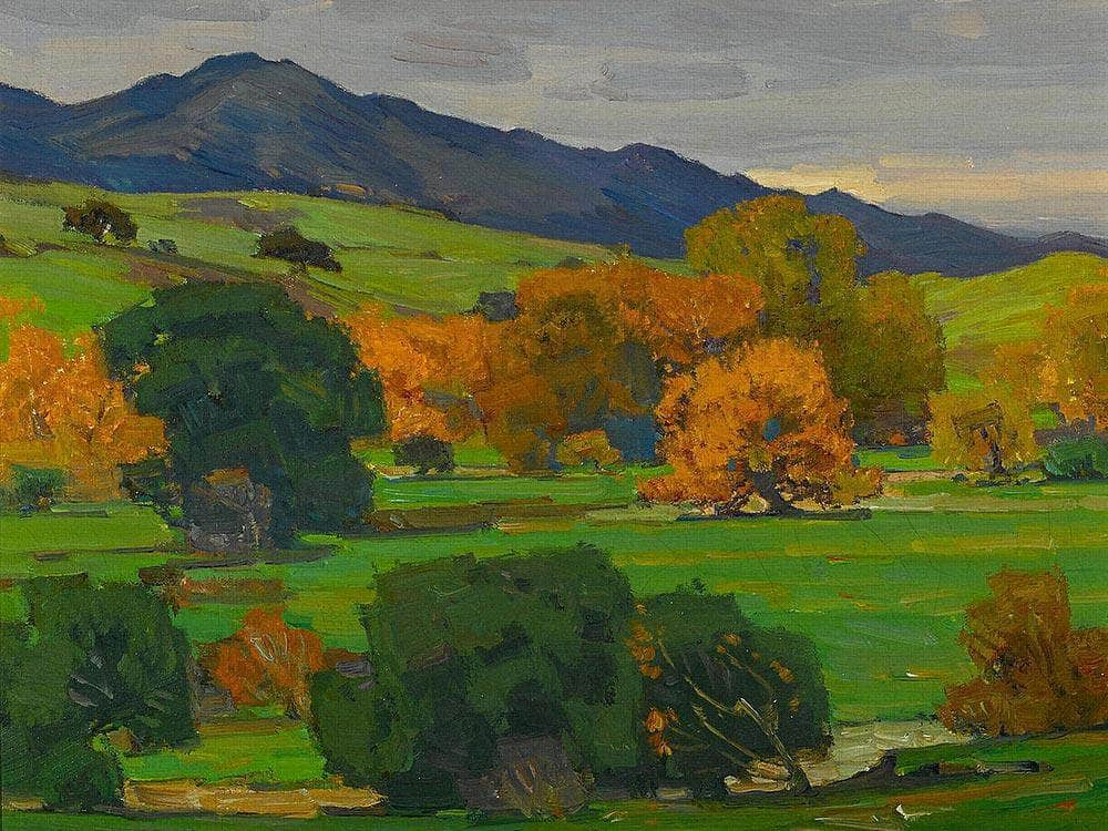 California Landscape Depicting Autumn Oaks On A Rolling Hillside With Mountains Beyond 1924 By William Wendt