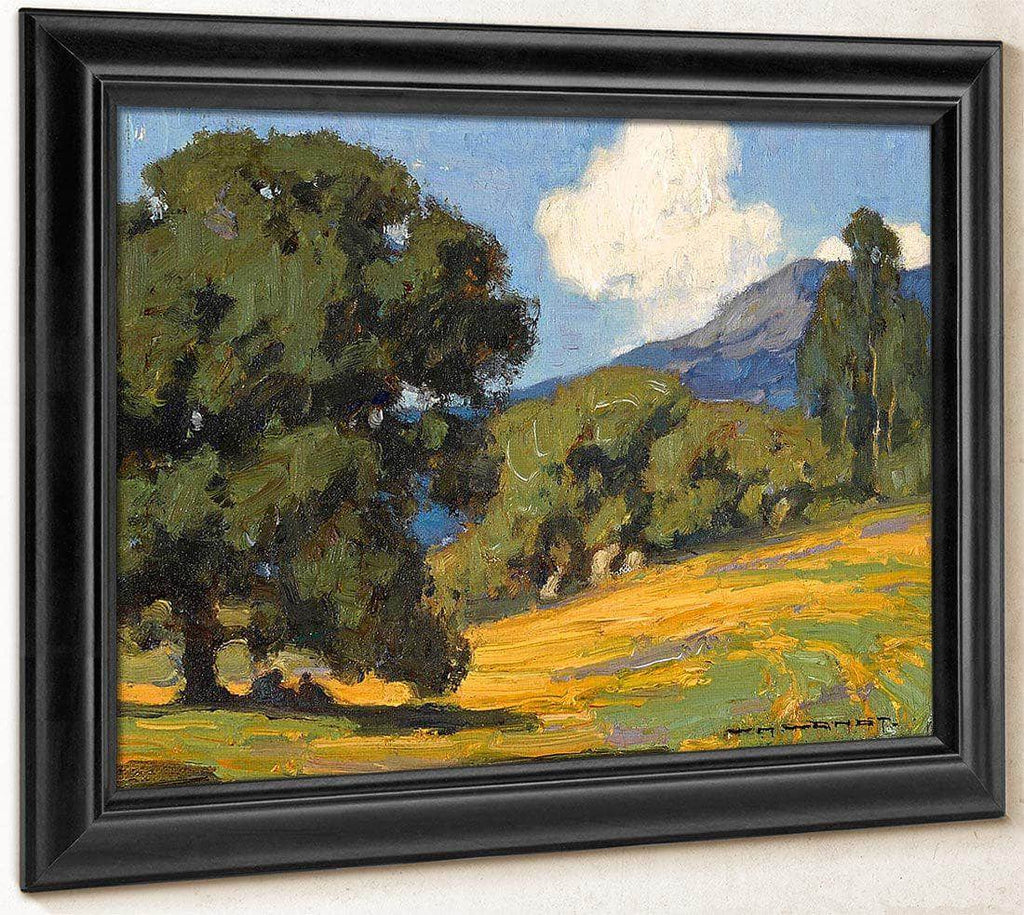 California Wildflowers And Oaks By William Wendt