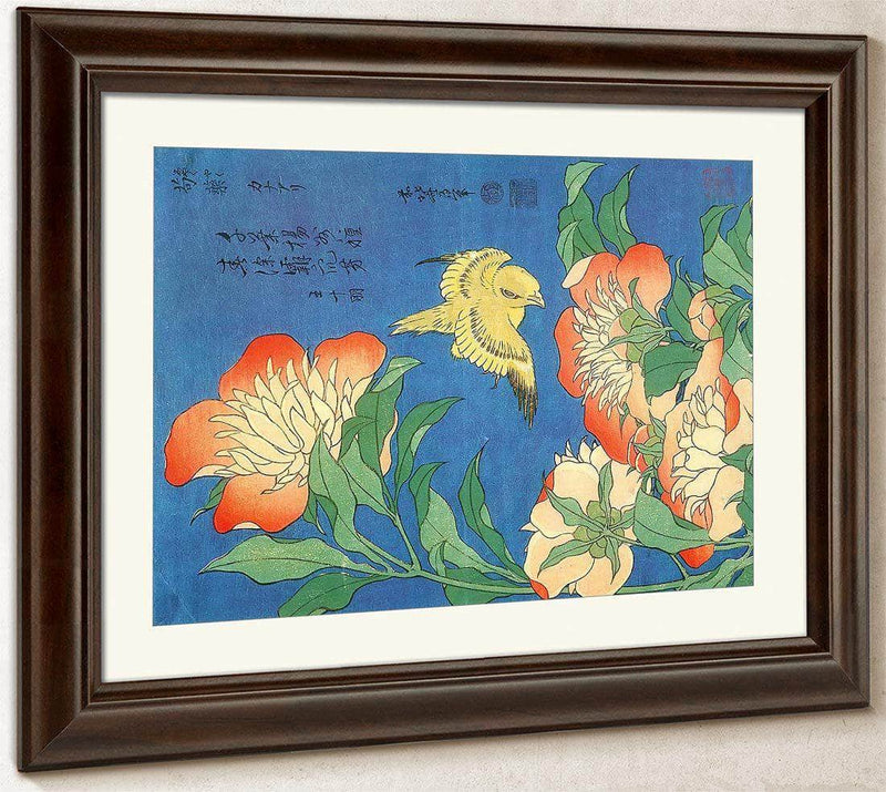 Canary And Small Peonies By Hokusai
