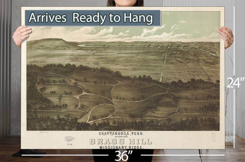 Chattanooga Tenn As Seen From Bragg Hill Missionary Ridge Vintage Map