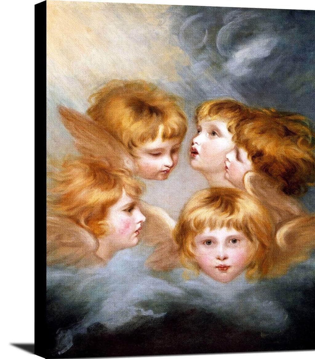 Child's Portrait Views Heads Of Angels Painting Joshua Reynolds Canvas Art