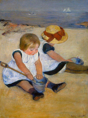 Children Playing On The Beach By Cassatt Mary