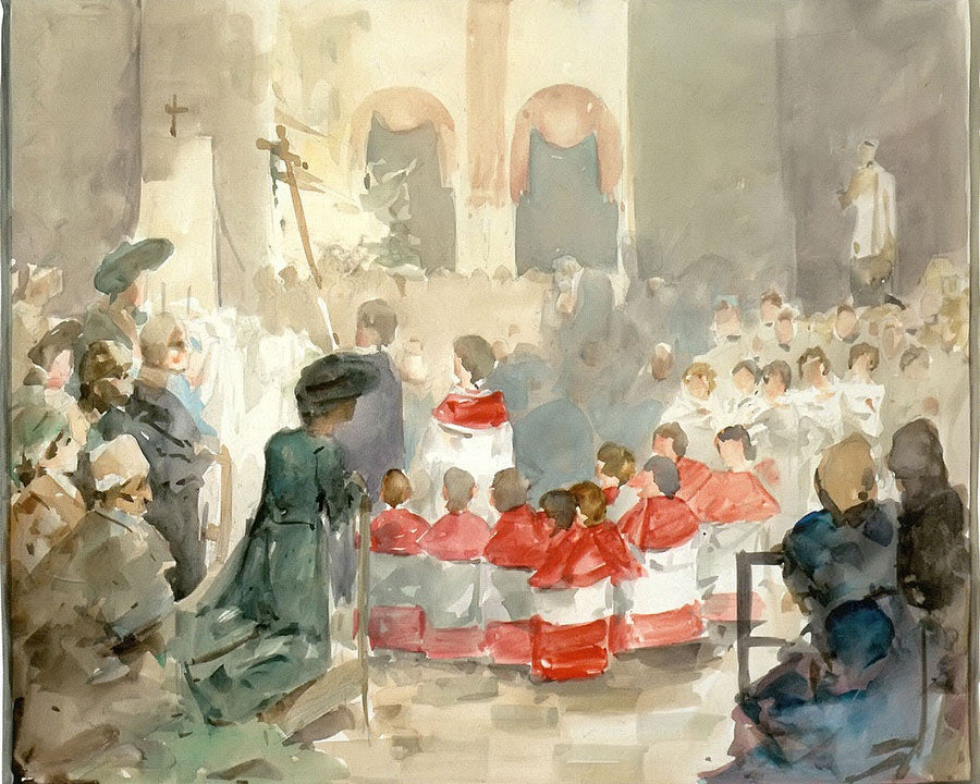 Choirboys At The Petrove Church By Alphonse Mucha