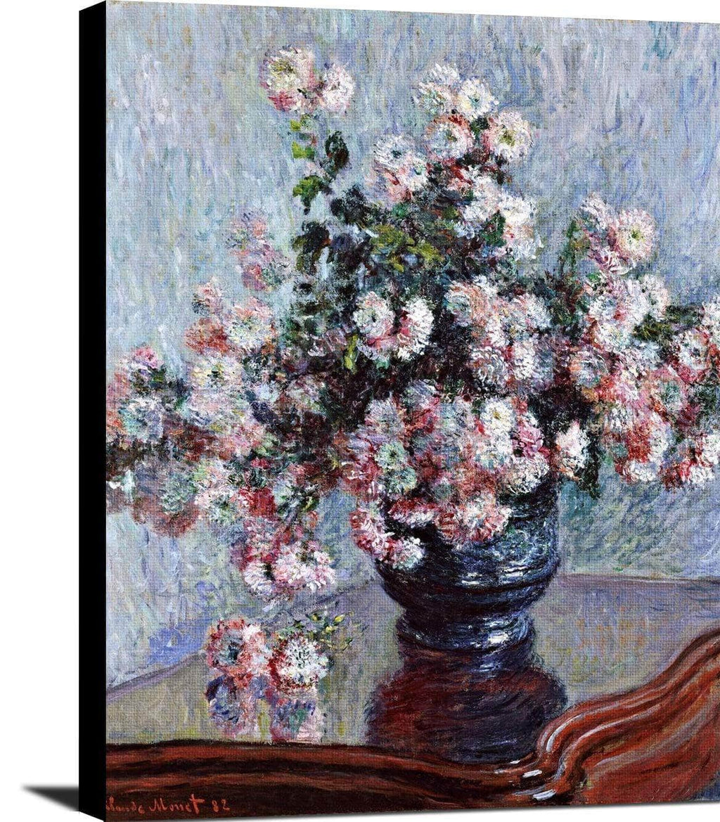 Chrysanthemums Painting Claude Monet Canvas Art