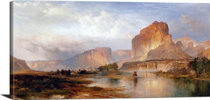 Cliffs Of Green River Painting Thomas Moran Canvas Art