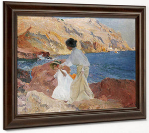 Clotilde And Elena On The Rocks Javea By Joaquin Sorolla Y Bastid