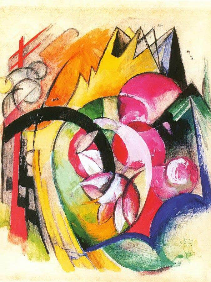 Coloured Flowers By Franz Marc