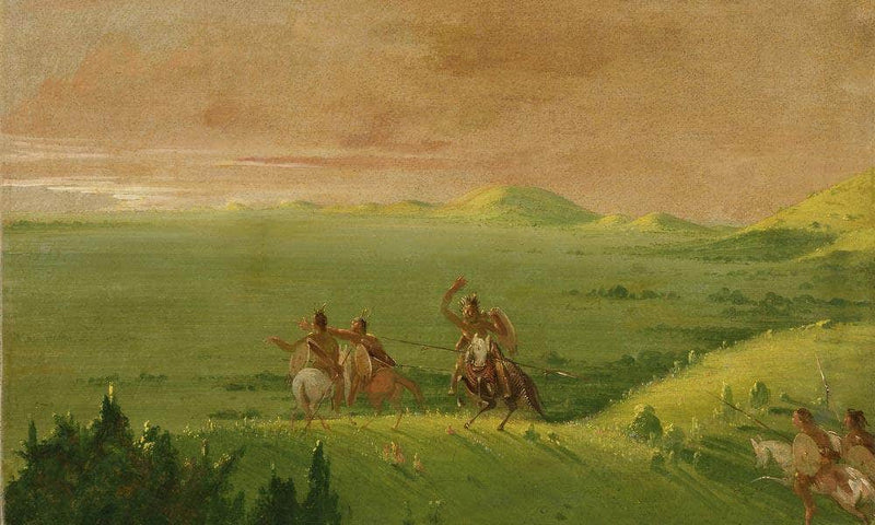 Comanche War Party, Chief Discovering The Enemy And Urging His Men At Sunrise By George Catlin