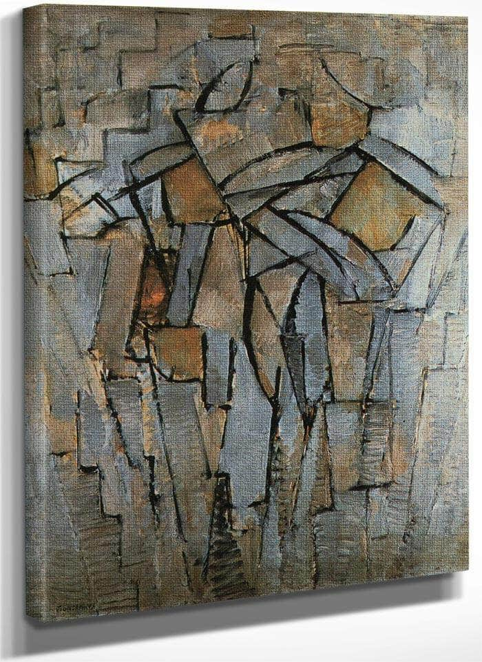 Composition In Grey Blue 1912 1913 Oil On Canvas 795X635Mm Thyssen Bornemisza Collection Lugano By Piet Mondrian