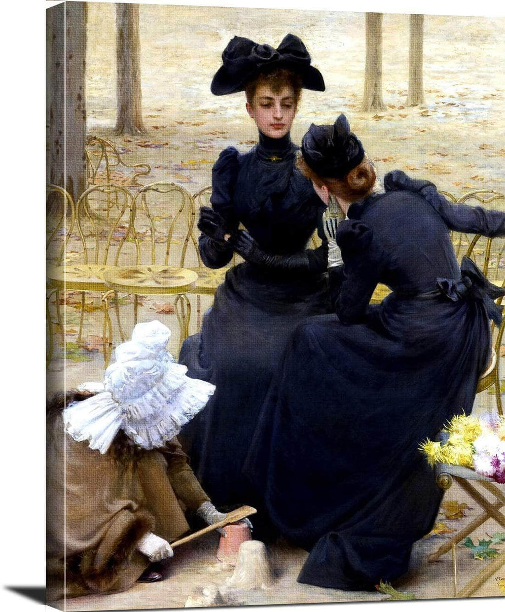 Conversation In The Luxembourg Garden Painting Corcos Canvas Art