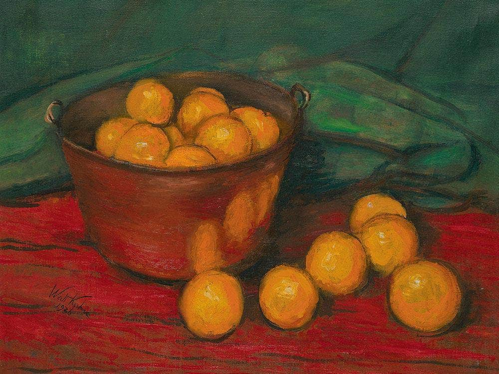 Copper Kettle And Oranges By Walt Kuhn