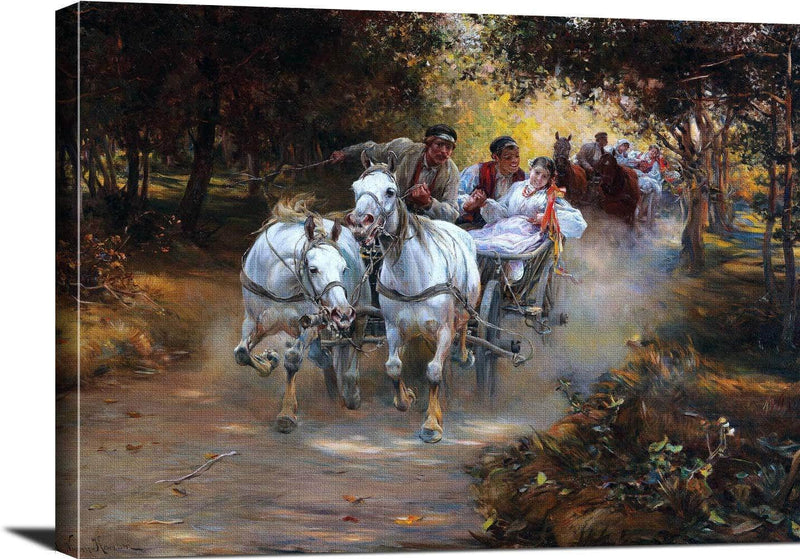 Country Wedding Painting Alfred Von Wierusz Kowalski Canvas Art