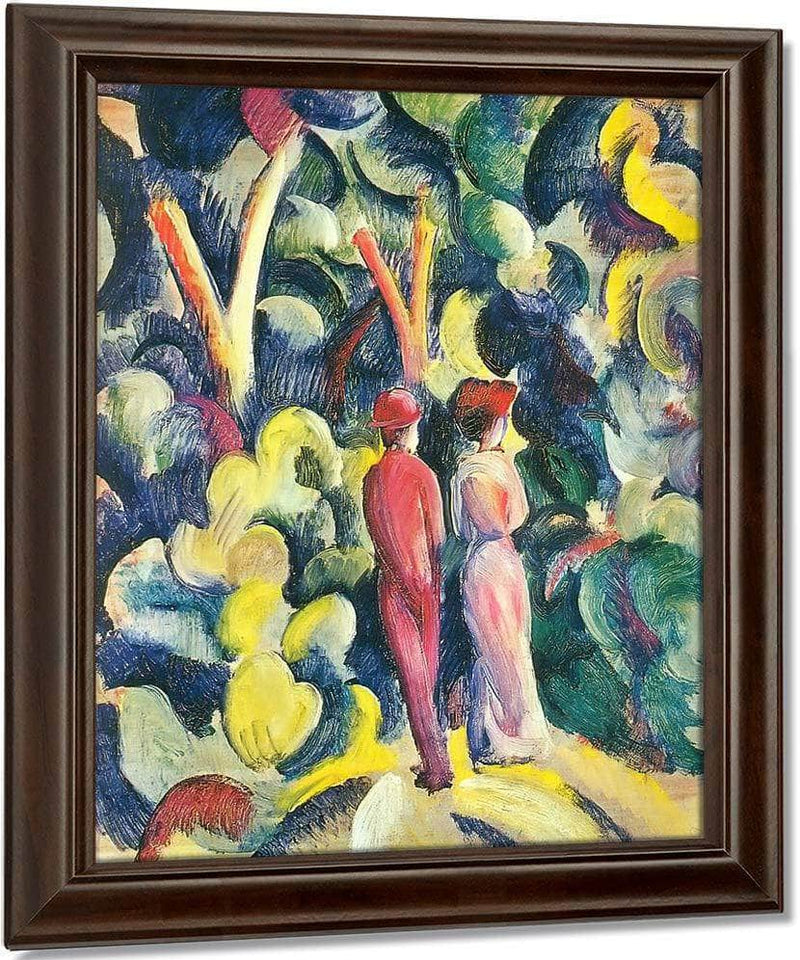 Couple Waking On A Path By August Macke