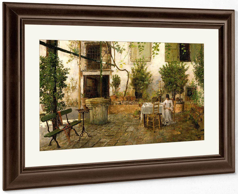 Courtyard In Venice By  Chase William Merritt