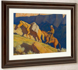 Cowboy And Packhorse By Maynard Dixon