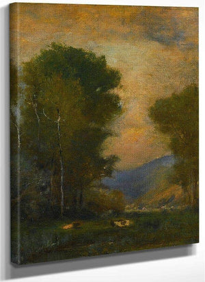Cows By A Stream By George Inness