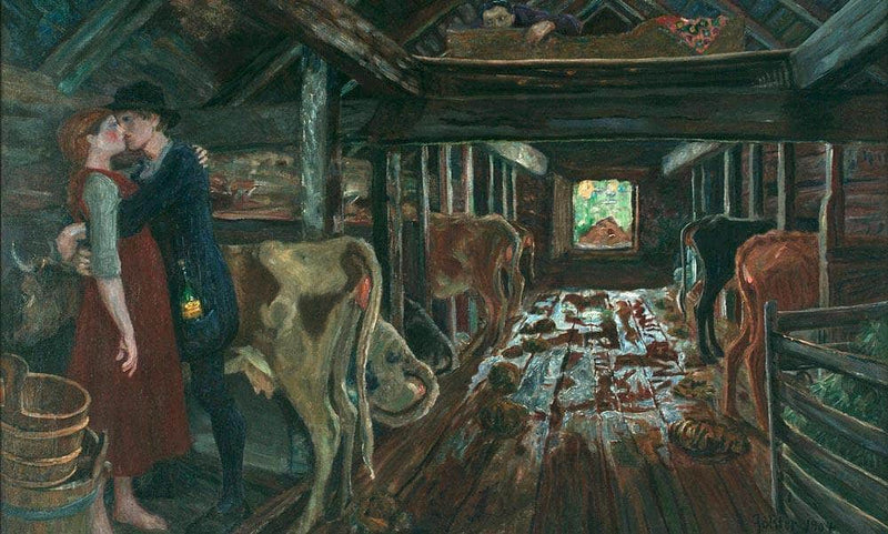 Cowshed Courtship By Nicolai Astrup