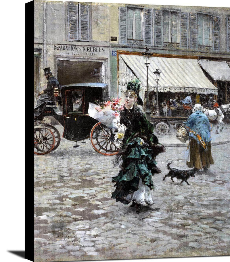 Crossing The Street Painting Giovanni Boldini Canvas Art