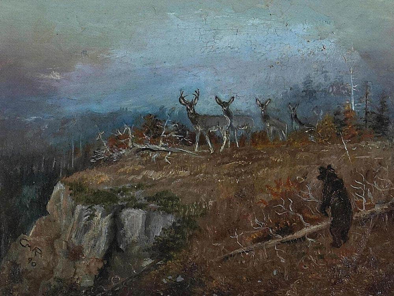 Deer And Bear In A Landscape, 1890 By Charles Marion Russell
