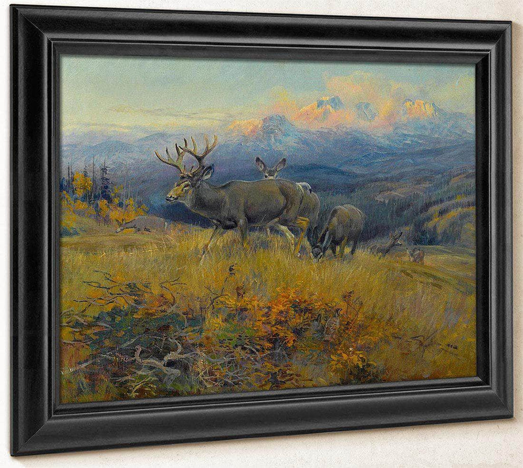 Deer In Landscape By Charles Marion Russell