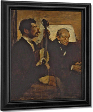 Degas Father Listening To Lorenzo Pagans Playing The Guitar By Edgar Degas