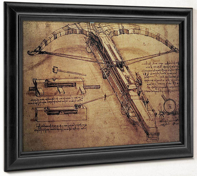Design For A Giant Crossbow Detail From Fol. 149B R From The Codex Atlanticus By Leonardo Da Vinci