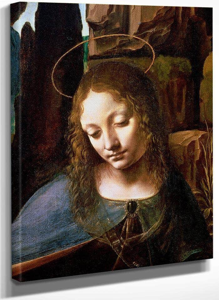 Detail Of The Head Of The Virgin From The Virgin Of The Rocks (The Virgin With The Infant Saint John Adoring The Infant Christ Accompanied By An Angel) By Leonardo Da Vinci