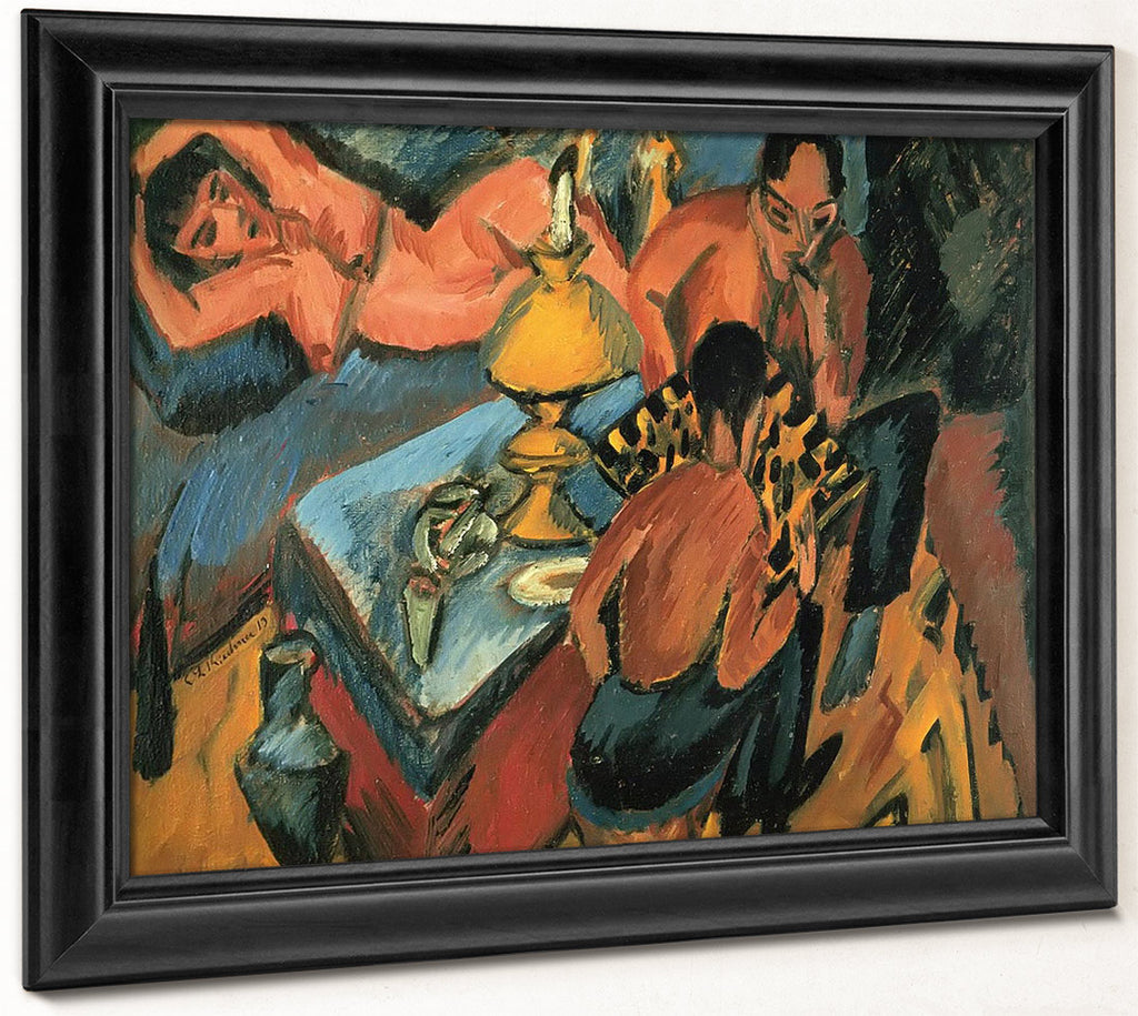 Erich Heckel And Otto Mueller Playing Chess By Ernst Ludwig Kirchner