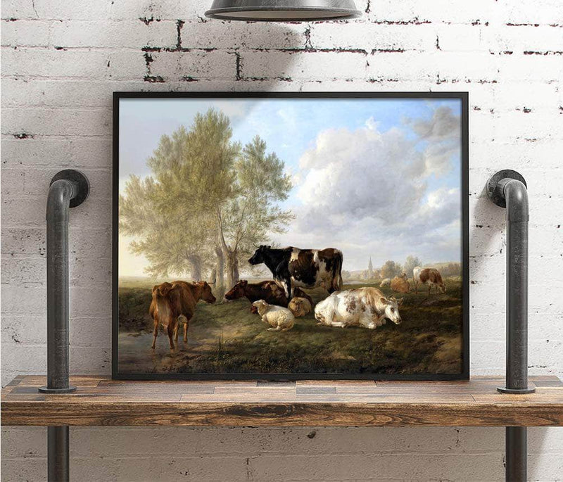 Evening, Fordwich Meadows, Canterbury Painting Thomas Cooper Canvas Art
