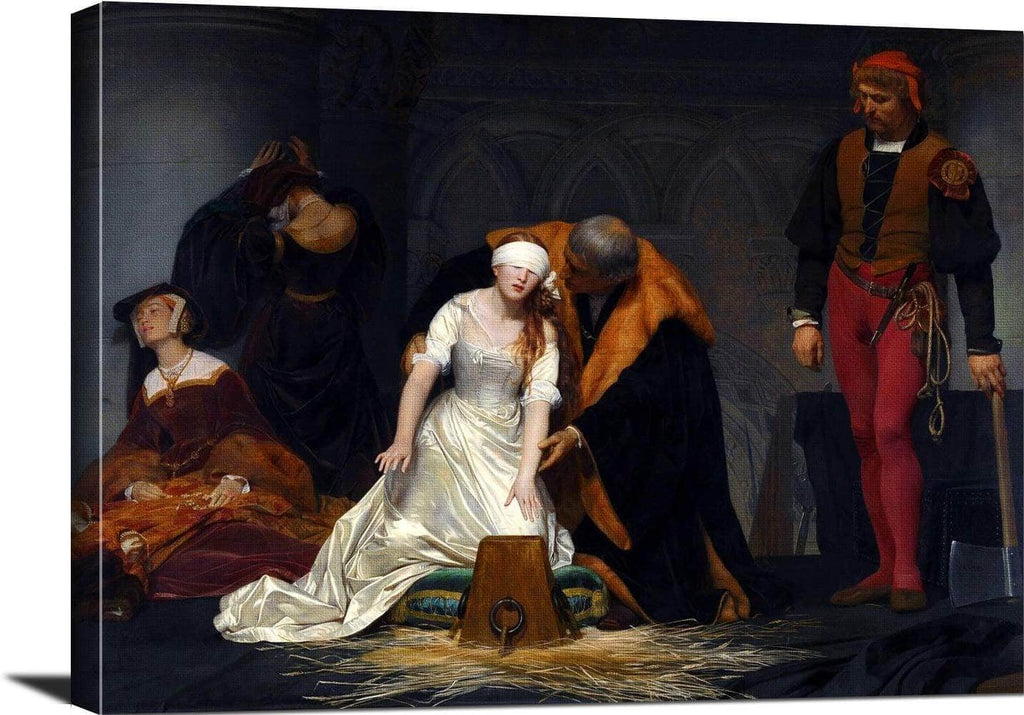 Execution Of Lady Jane Grey Painting Paul Delaroche Canvas Art