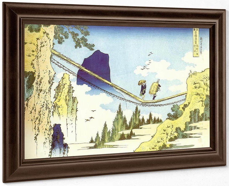Farmers Crossing A Suspension Bridge On The Border By Hokusai