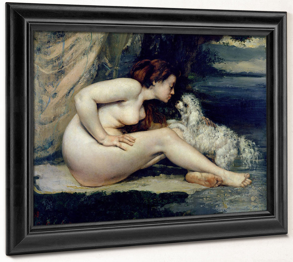 Female Nude With A Dog (Portrait Of Leotine Renaude) By Jean Desire Gustave Courbet