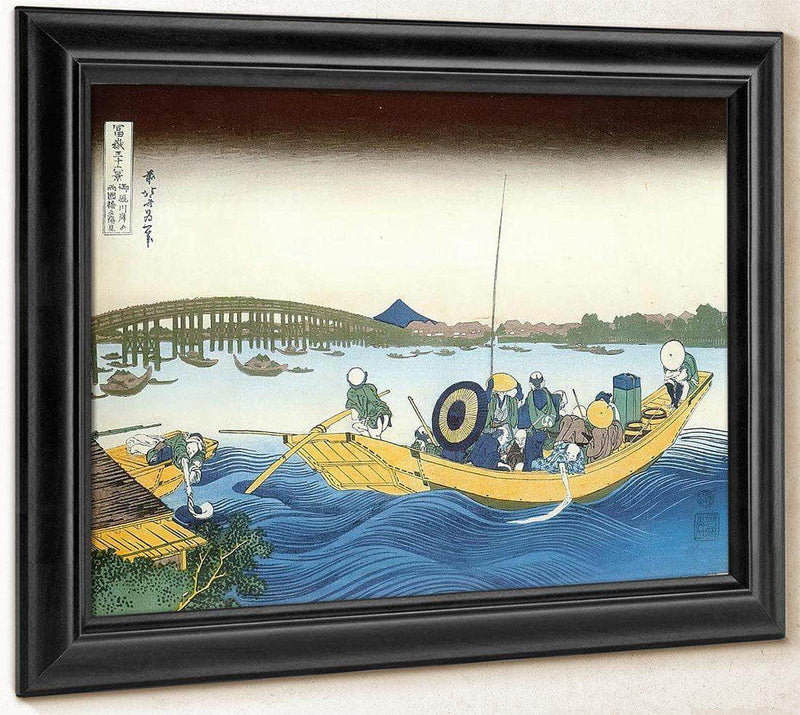 Ferry Boat At Onmayagashi With Ryogoku Bridge In The Distance By Hokusai