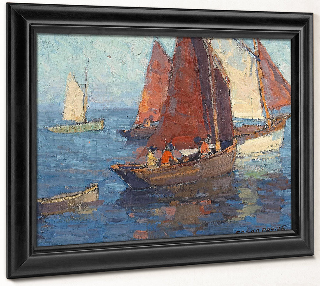 Figures In Sailboats On Calm Waters By Edgar Payne