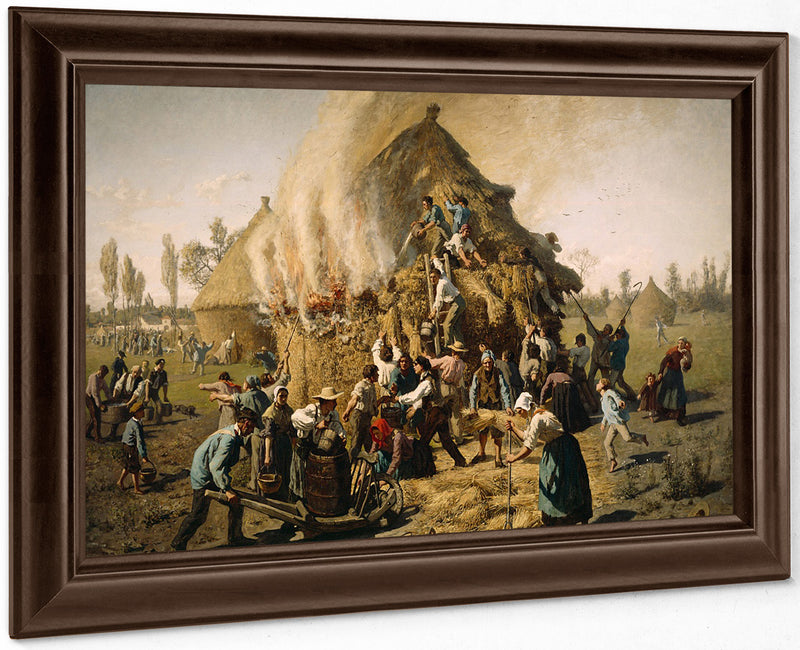 Fire In A Haystack By Jules Breton