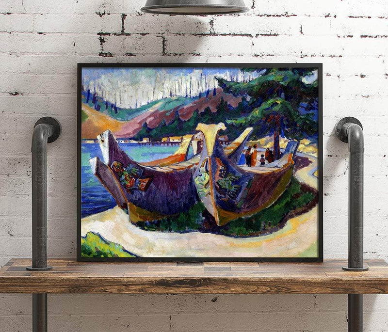 First Nations War Canoes In Alert Bay Painting Emily Carr Canvas Art