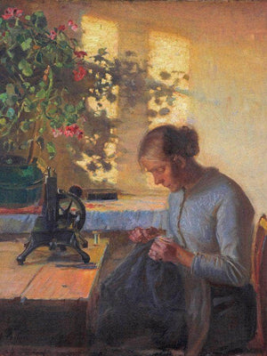 Fisherman 1039 S Wife Sewing 1890 By Anna Ancher