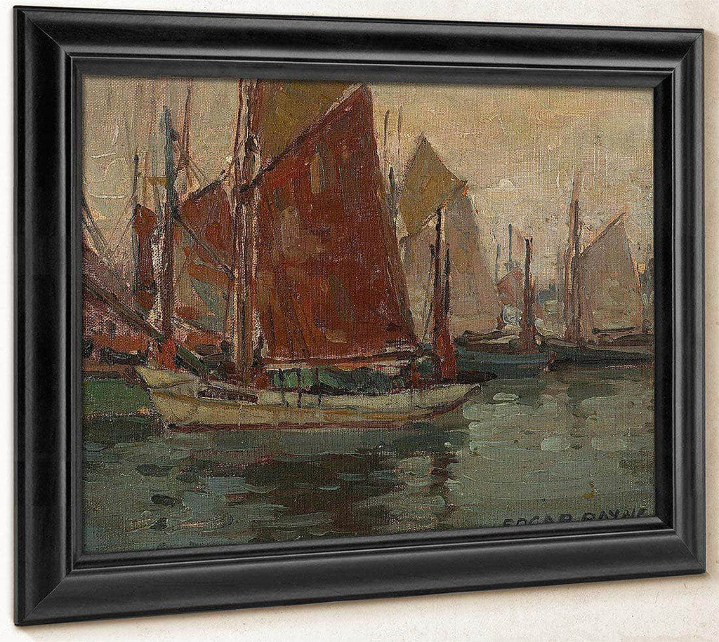 Fishing Boats In A Harbor By Edgar Payne1