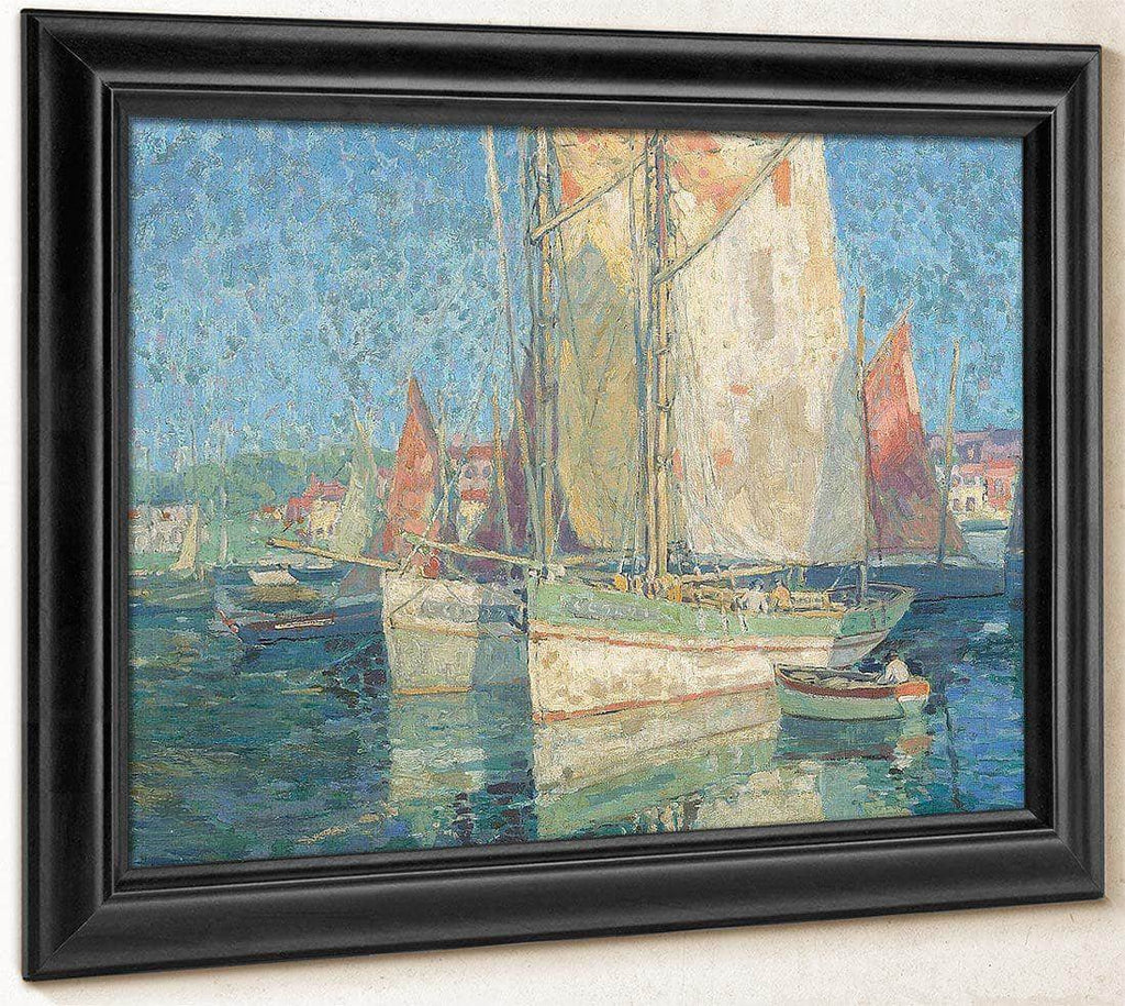Fishing Boats In A Harbor By Edgar Payne