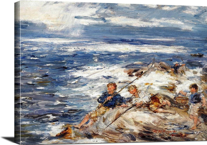 Fishing From The Rocks Painting William Mctaggart Canvas Art